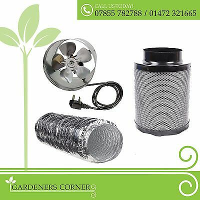 """Hydroponics Indoor Grow 6"""" 150mm Duct Fan Booster Fox Filter Complete Kit UK"""