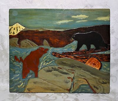 Vintage Primitive Folk Art Oil Painting on Wood Carving Lacquered Bears Scene