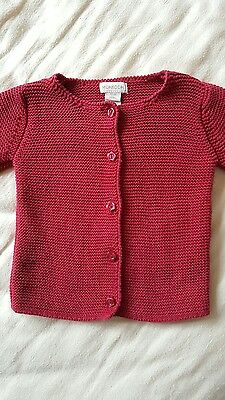 Monsoon 12-18 month red knitted cotton CARDIGAN girls