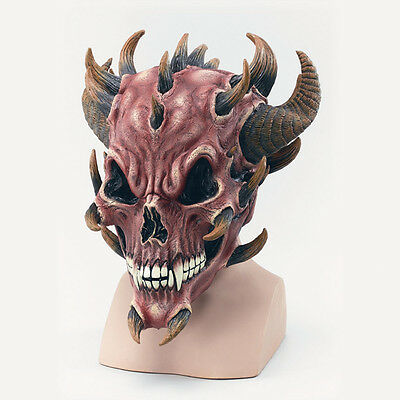 Red Devil Skull Rubber Mask Video Game Monster Scary Adult Fancy Dress Halloween