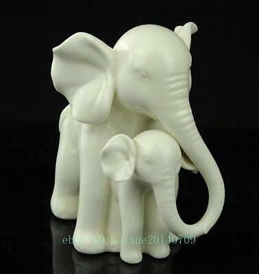 Precious Hand Painted Porcelain Mother Elephant and Calf Figurine