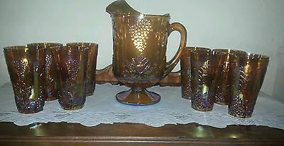 Colony Harvest Gold Carnival Glass 72 oz Pitcher & 8 - 16 oz Tumblers