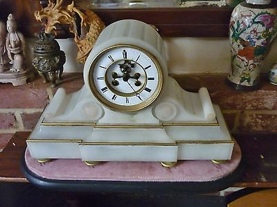 Rare French 19th c Alabaster Drumhead Mantle Clock on stand GWO OPEN ESCAPEMENT