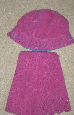 Vintage Gymboree Winter Magic Pink Fleece Hat Scarf SET L-XXL 5 6 7