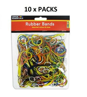 Strong Rubber Bands Assorted Colours Sizes Office Essentials 10 Packs