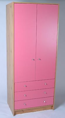 Madison 3 Drawer 2 Door Wardrobe in Pine & Pink Effect