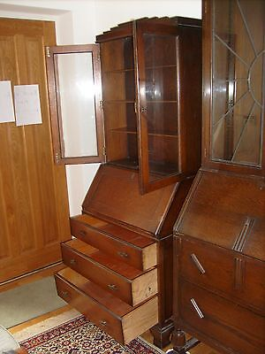 Antique Bureau/bookcase In Solid English Oak Wood, Beautiful Piece Of Furniture!