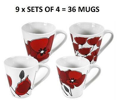 Poppy Design Mugs Coffee Tea Ceramic Stylish Cups Home Office Work Bulk 36 Mugs