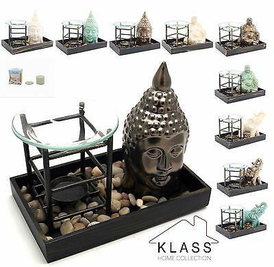 Buddha Zen Elephant Oil Burner Tealight Holder Tart Warmer With Pebbles & Tray