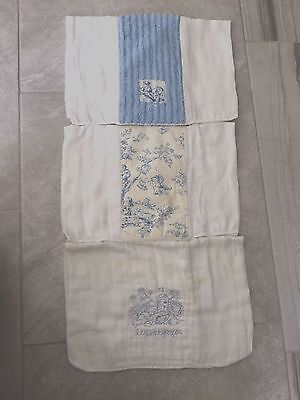 SWANKIE BLANKIE Burp Cloth LOT 3 Blue White Baby Boys Toile Chenille PREOWNED
