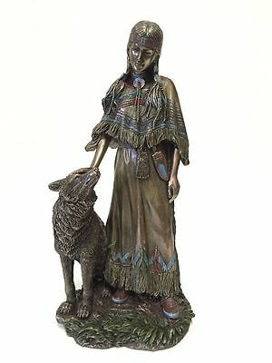 Native American Indian Woman Petting Wolf Statue Sculpture Figure -  New in Box