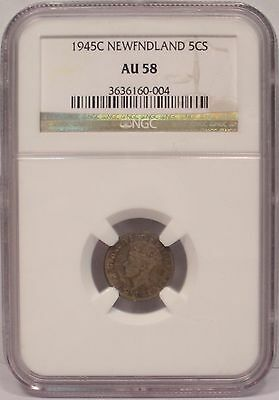 1945 C Newfoundland Canada 5c Five Cents Silver - NGC Certified AU58