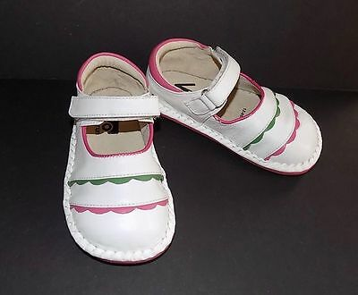 SEE KAI RUN Girls Mary Janes White Leather Pink/Green trim Toddler size 8
