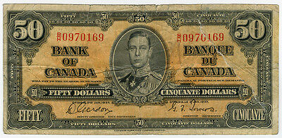 CANADA 1937 ISSUE $50 DOLLARS BANKNOTE SCARCE FINE.PICK#63b.