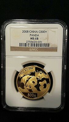China 2008 Gold 1 oz Panda 500Y NGC MS-68