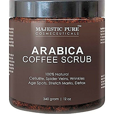 Majestic Pure Arabica Coffee Body Scrub, 12 Oz - 100% Natural Skin Care Treatmen