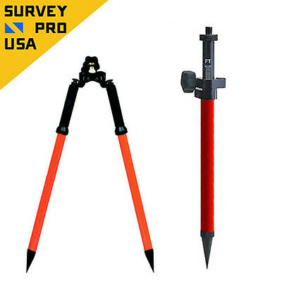 Mini Prism Pole / Bipod Combo w/Precise Tip Stakeout Total Station Prism Survey