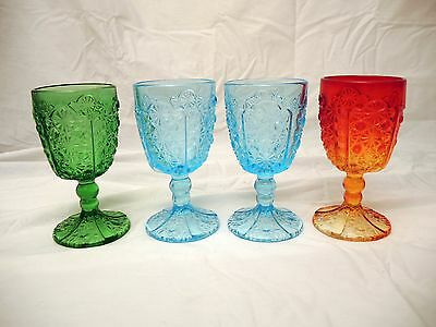 Vintage Daisy & Button Water Goblets - L. G. Wright - Set Of 4