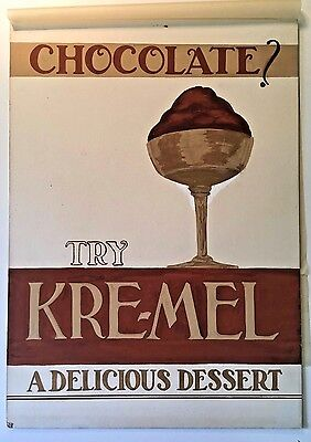 CHOCOLATE Original c1940 Water Color Advertising Art Work KRE-MEL DESSERT + BOOK
