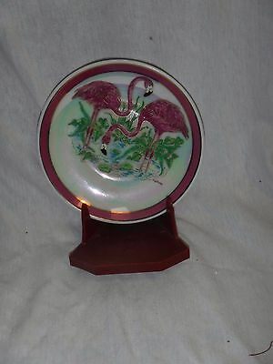 decorative flamingo plate with stand