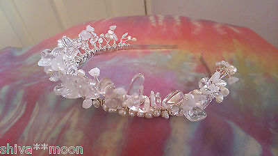 quartz pearl SILVER TIARA HEADDRESS HIPPY WEDDING HAND FASTING PROM  WOW