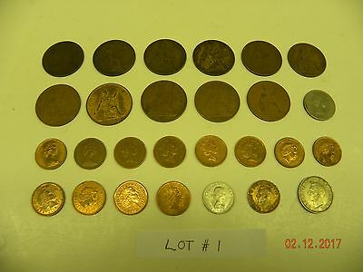Lot of 27 Different Coins of Great Britain / UK (Mostly Large and Small Pennies)