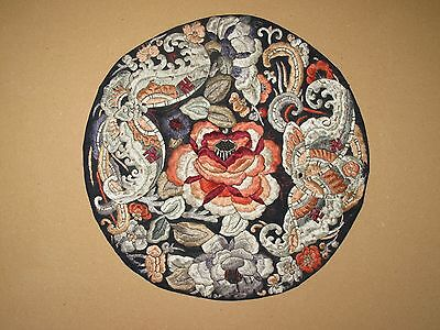 Antique Vintage Hand Embroidered Silk Chinese round Panel Textile swastika