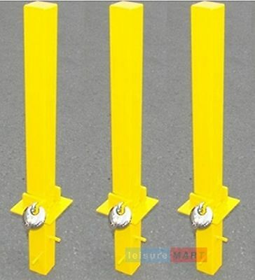 3 x Security parking posts, fold down heavy duty, Parking Bollard Maypole MP9739