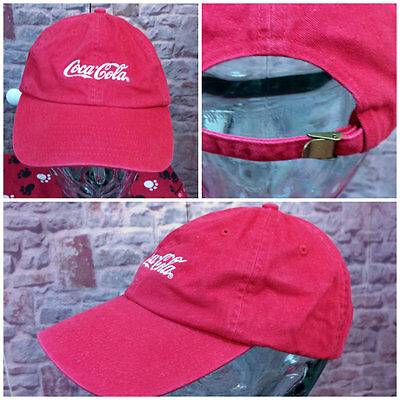 Vintage Red Embroidered Coca-Cola Ball Cap Hat w/Brass Lever for Size Adjustment