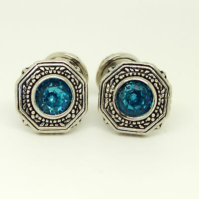 Silver Vintage Cufflinks with Blue Stone