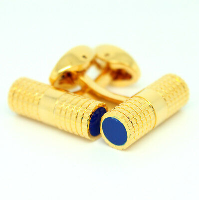 Gold and Blue Circular Cufflinks