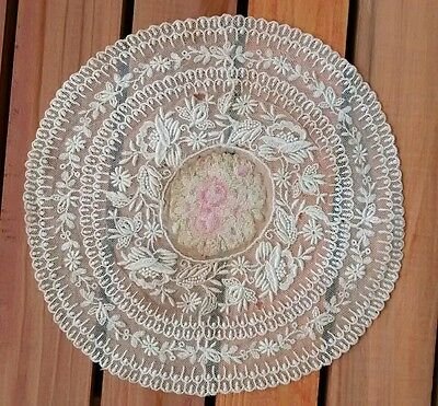 Antique Petit Point Embroidered Tambour Lace Ivory Doily