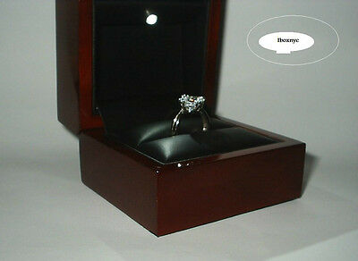 Led Lighted Glossy Mahogany Wood Fancy Engagement Ring Gift Box Display Case