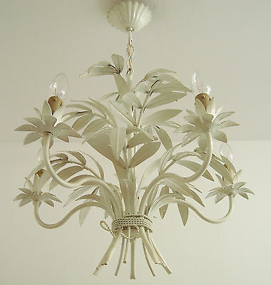 Rare Tole Chandelier Bamboo Leaves Toleware Light 5 Arms Vintage French