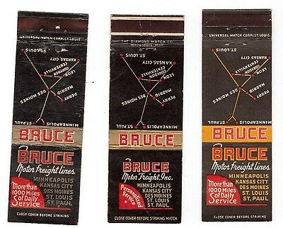 6 Bruce Transfer & Storage Co lot matchbook covers vintage NR Des Moines, Iowa