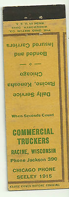 Commercial Truckers Racine Wisconsin vintage matchbook cover off cut yellow