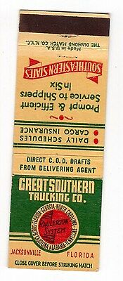 Great Southern Trucking Co Jacksonville, Florida vintage matchbook cover