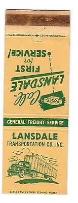 Lansdale Transportation Co Inc Terminals PA, NY, NJ Transport matchbook cover
