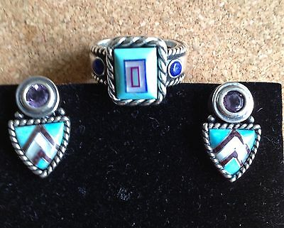 RARE/Retired Carolyn Pollack Set Ring Post Earrings FREE Shipping MINT!