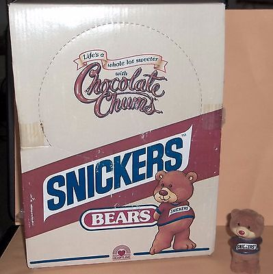 1 Display Box Containing 30 Snickers Bears Flocked Heartline Mars Inc 1987 NOS
