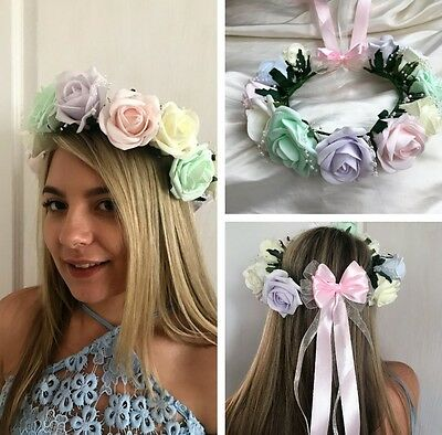 Pastel Roses Flower Crown, Garland Headband Bridesmaids, Flowergirls, Festivals