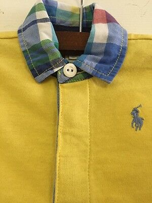 Baby Boy Polo Ralph Lauren One Piece Outfit 6 Months Plaid Collar Yellow