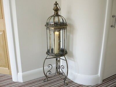 New French Antique Vintage Garden Candle Lantern Lamp Holder & Stand Large 115cm