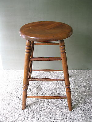 "Antique Stool Vintage Primitive Oak/Pine Wood 24-1/4"" Tall Round Seat Stand"