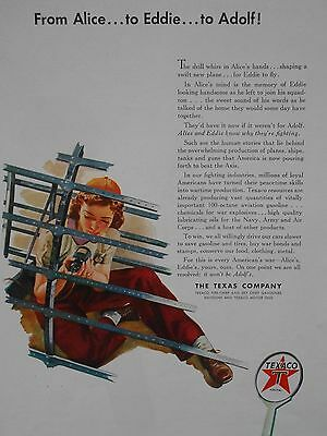 Wwii Rosie The Riveter Texaco Oil 'from Alice...to Eddie...to Adolf' Hitler Ad