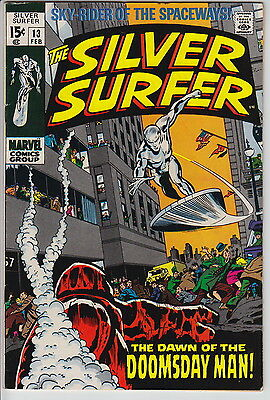 The Silver Surfer #13 (Feb 1970, Marvel) Unrestored VF White Pages