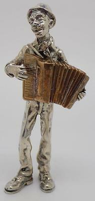 125g! Vintage Solid Silver & Copper ANGINI Accordion Player - Stamped - Italian