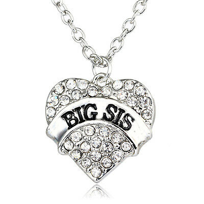 Chain Women Clear Big Sis Necklace Pendant Family Fashion Gift Crystal Charm