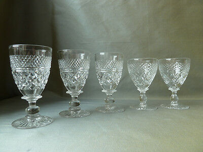 5 Vintage Tudor Crystal Sherry and Port Glasses, Mixed Lot 3+2, Signed