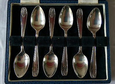 Set of 6 Vintage Viners Solid Silver Teaspoons Hallmarked Sheffield 1932 & Case